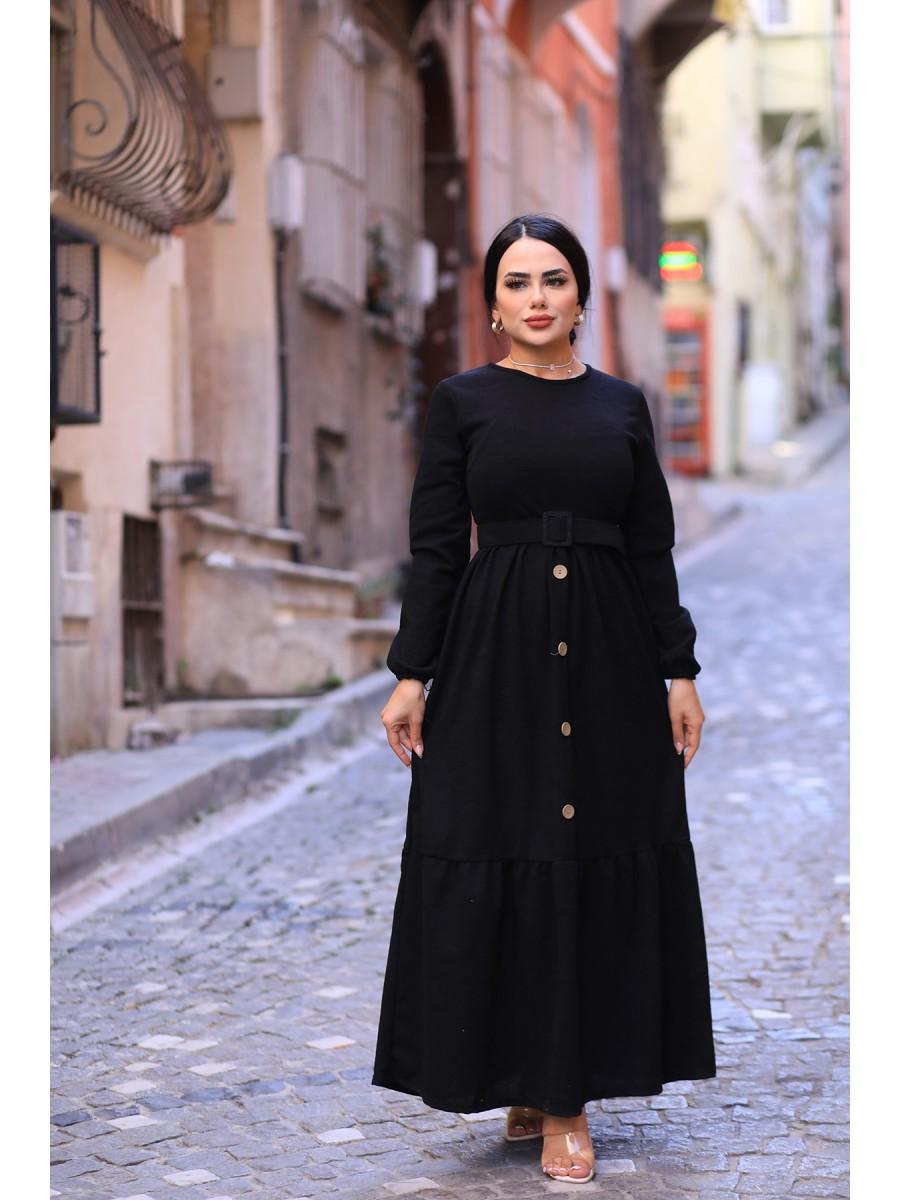 Kemerli Uzun Triko Elbise