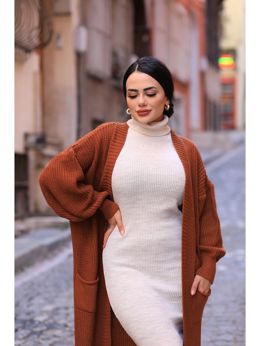 Triko Elbise Düz Hırka 2'li Takım