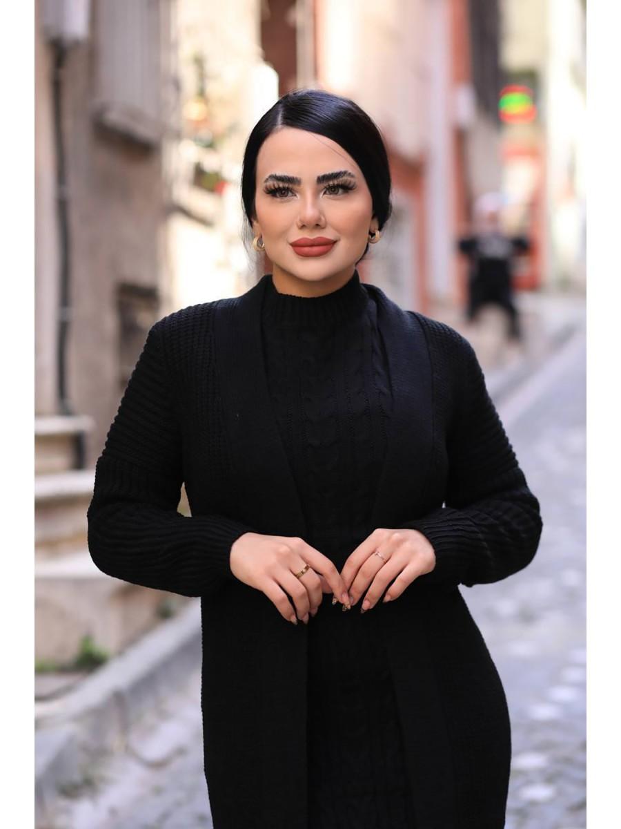 Triko Elbise Örgülü Hırka 2'li Takım
