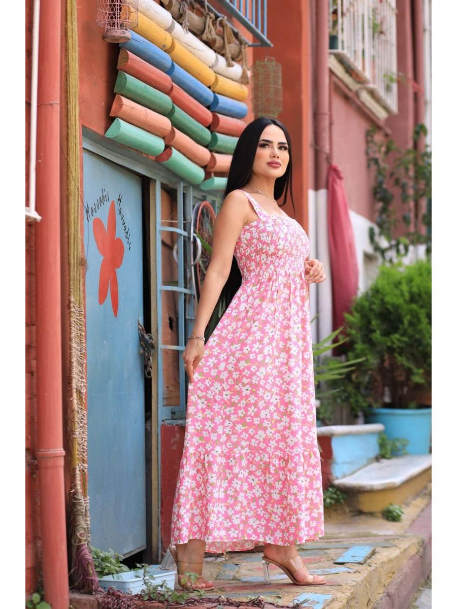 Askılı Gipeli Çiçekli Uzun Elbise
