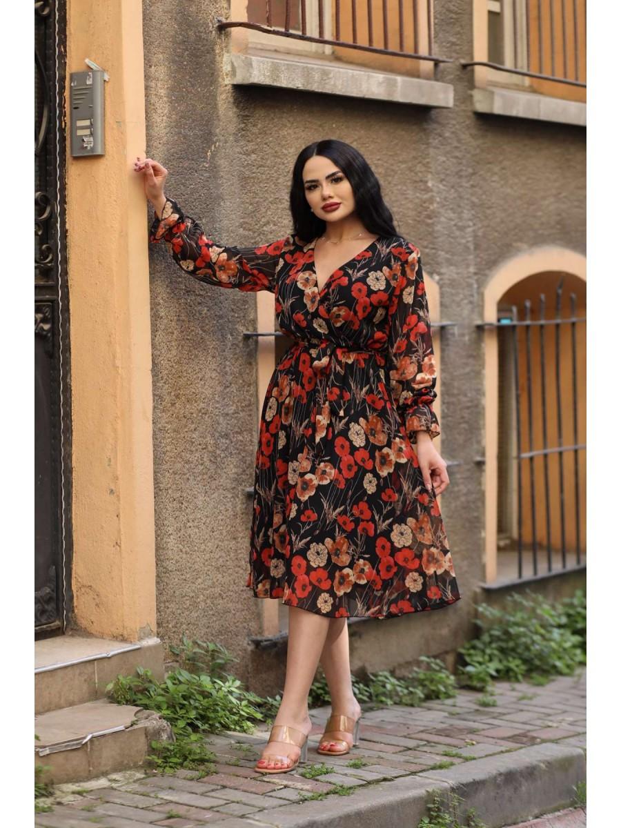 Kruvaze Beli Bağlı Çiçekli Şifon Midi Elbise