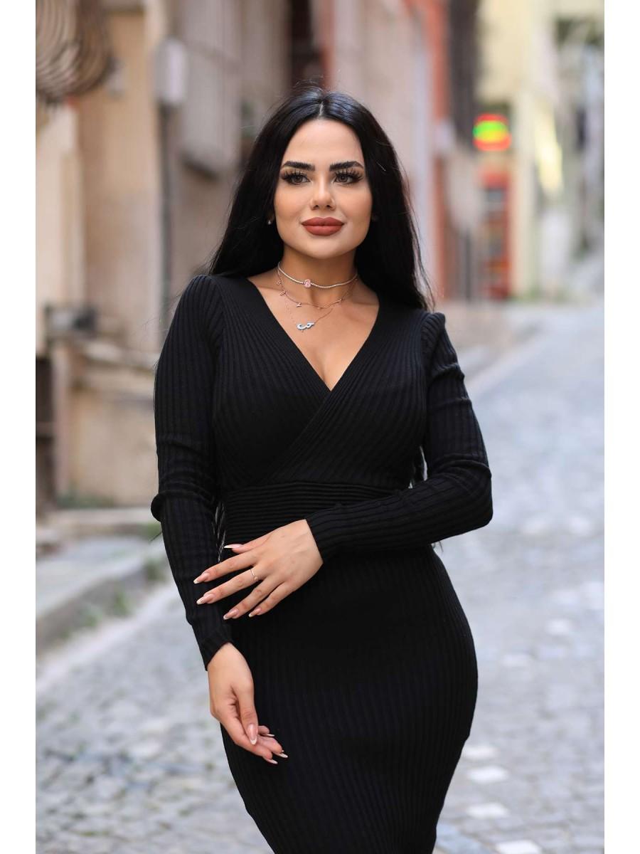 Kruvaze Yaka Midi Triko Elbise