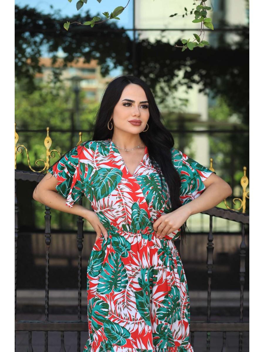 Kruvaze Yapraklı Viskon Midi Elbise