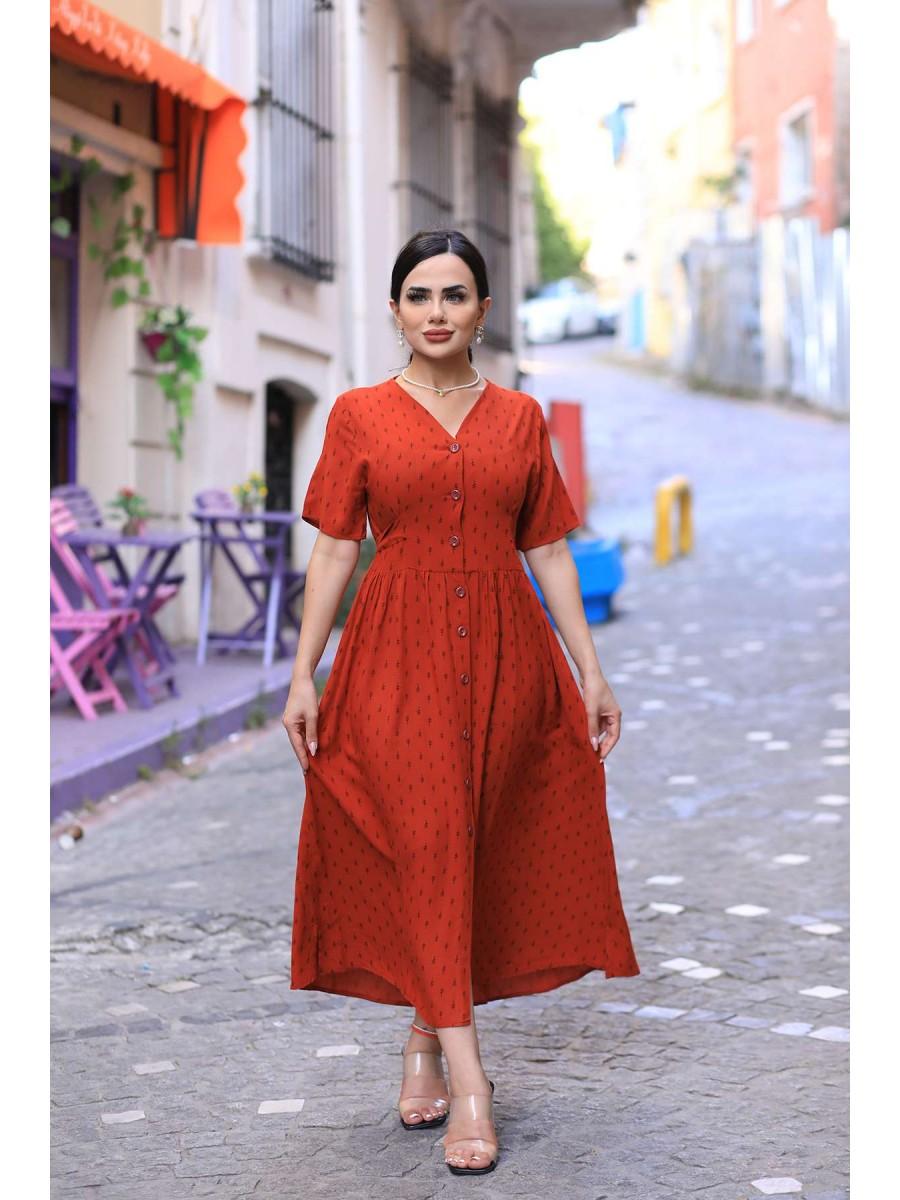 Önü Düğmeli Ok Desenli Büyük Beden Elbise