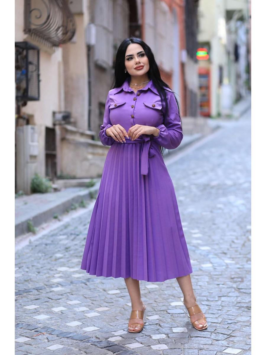 Önü Düğmeli Pileli Scuba Uzun Elbise