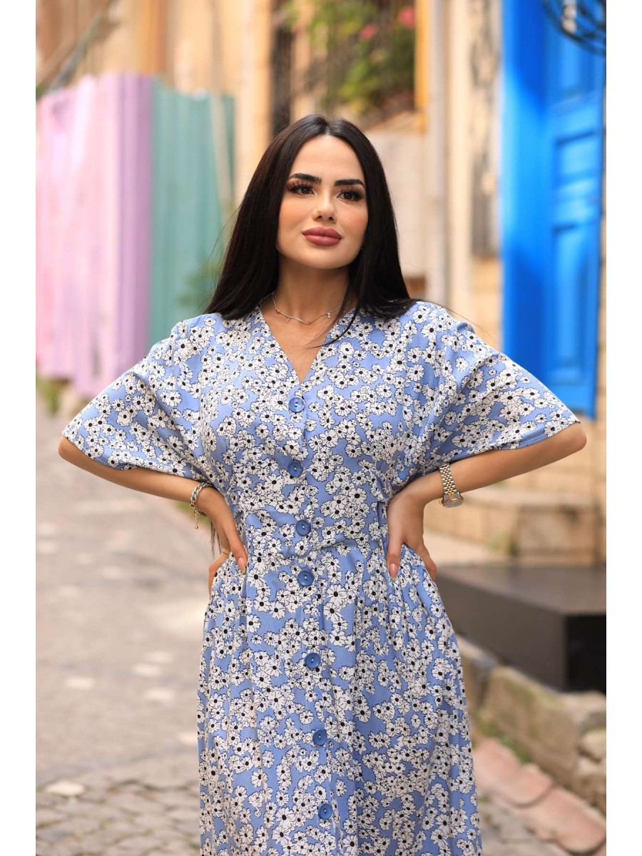 V Yaka Düğmeli Çiçekli Büyük Beden Elbise
