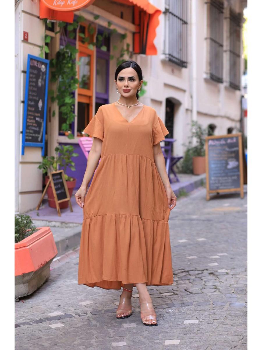 V Yaka Uzun Salaş Elbise