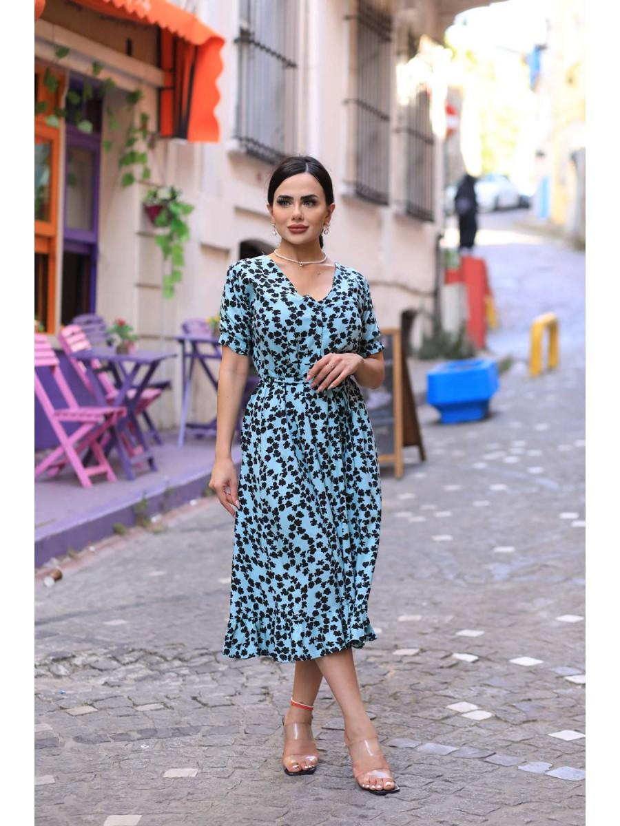 V Yaka Yapraklı Viskon Midi Elbise