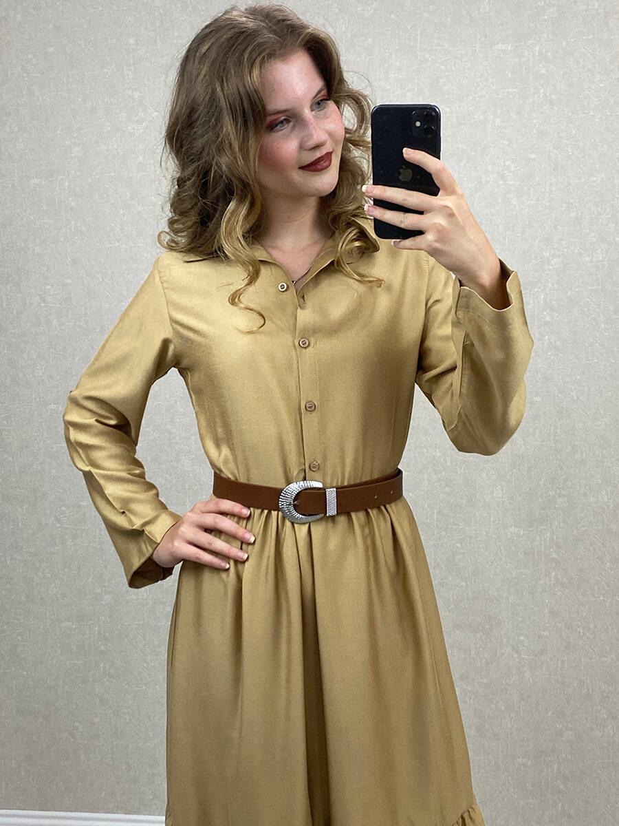 Aerobin Kumaş Kemerli Altın Uzun Gömlek Elbise