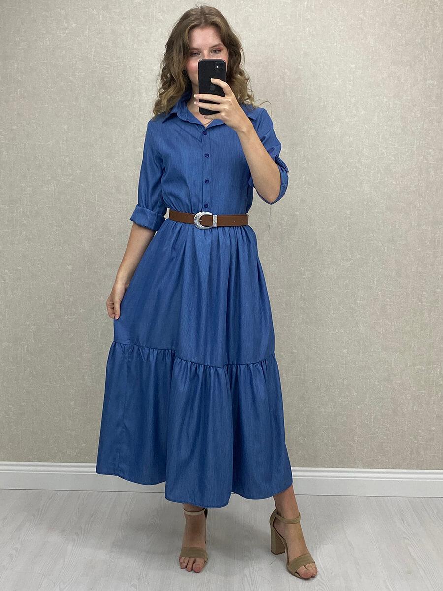 Aerobin Kumaş Kemerli Mavi Uzun Gömlek Elbise