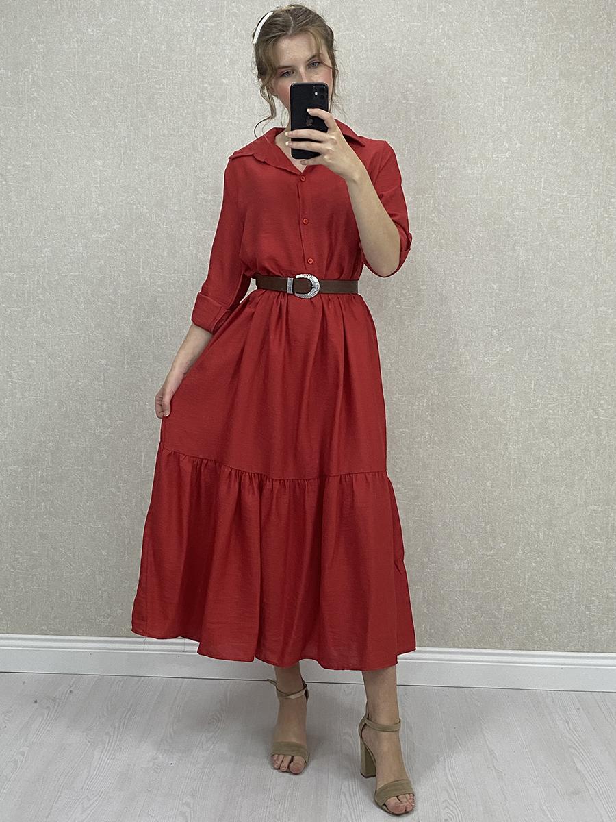 Aerobin Kumaş Kemerli Kırmızı Uzun Gömlek Elbise