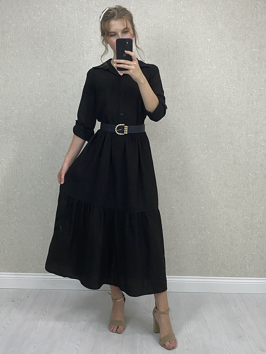 Aerobin Kumaş Kemerli Siyah Uzun Gömlek Elbise