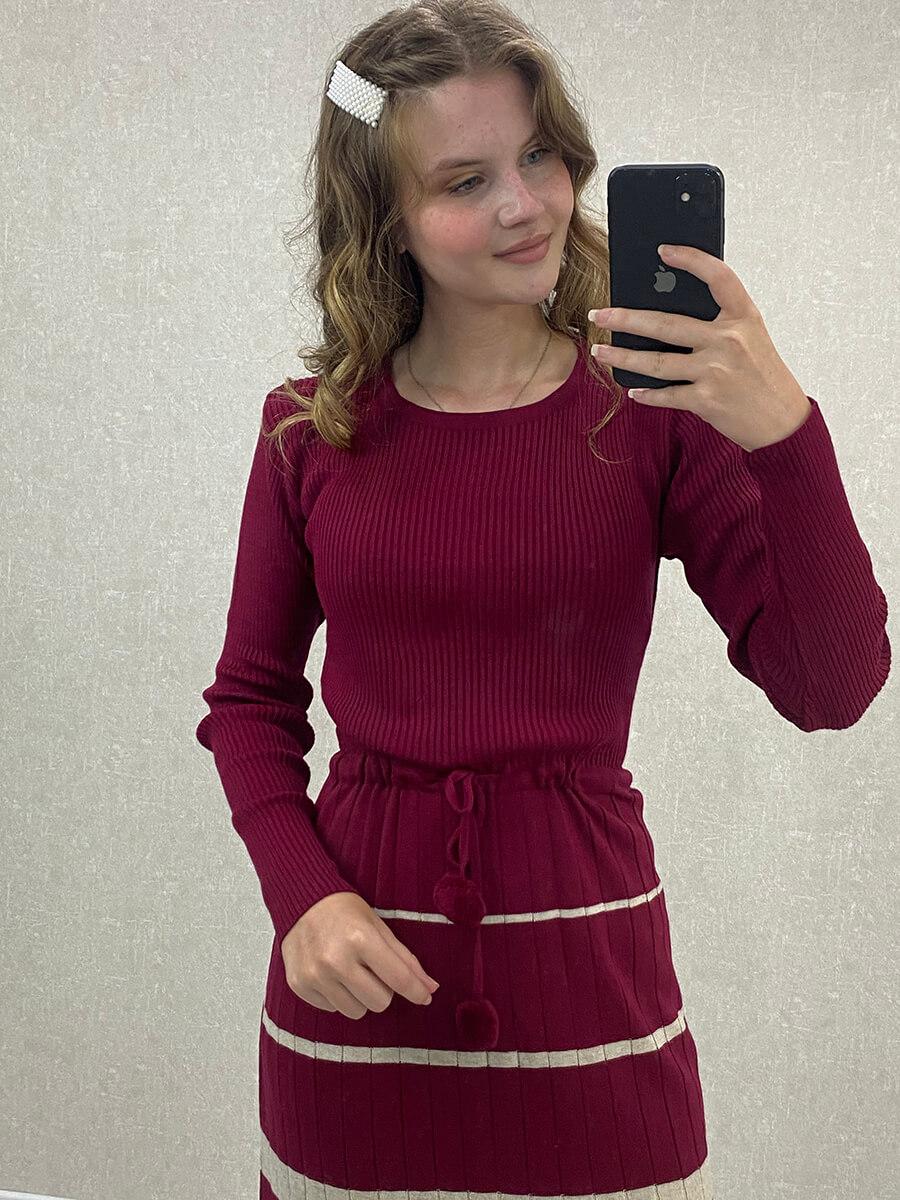 Beli Bağlamalı Çizgili Vizon Triko Uzun Elbise