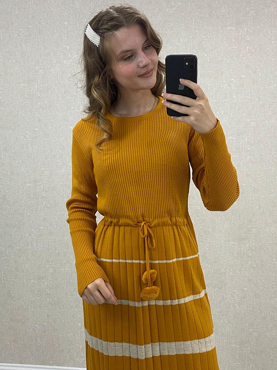 Beli Bağlamalı Çizgili Hardal Triko Uzun Elbise