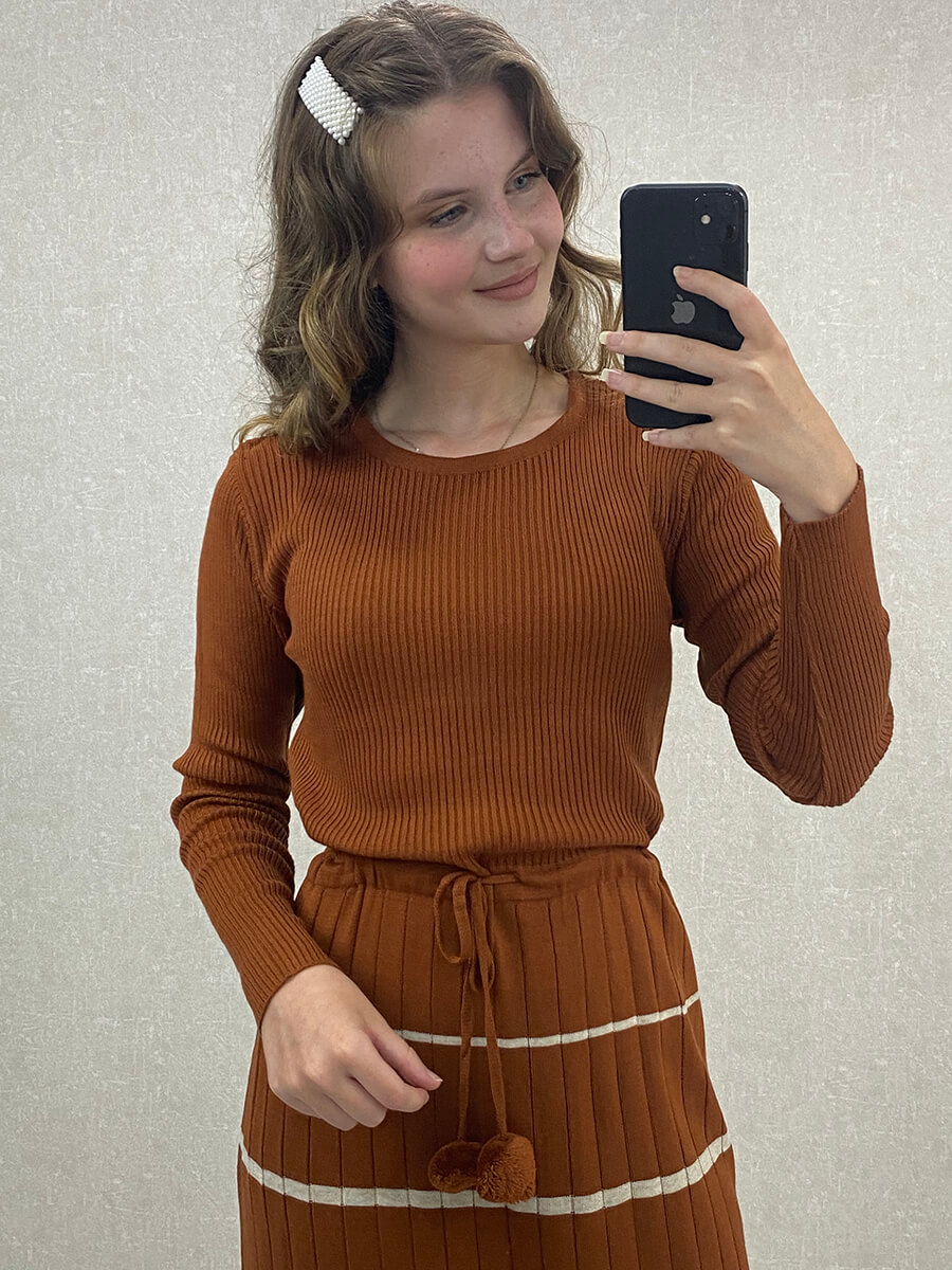 Beli Bağlamalı Çizgili Uzun Kahve Triko Elbise