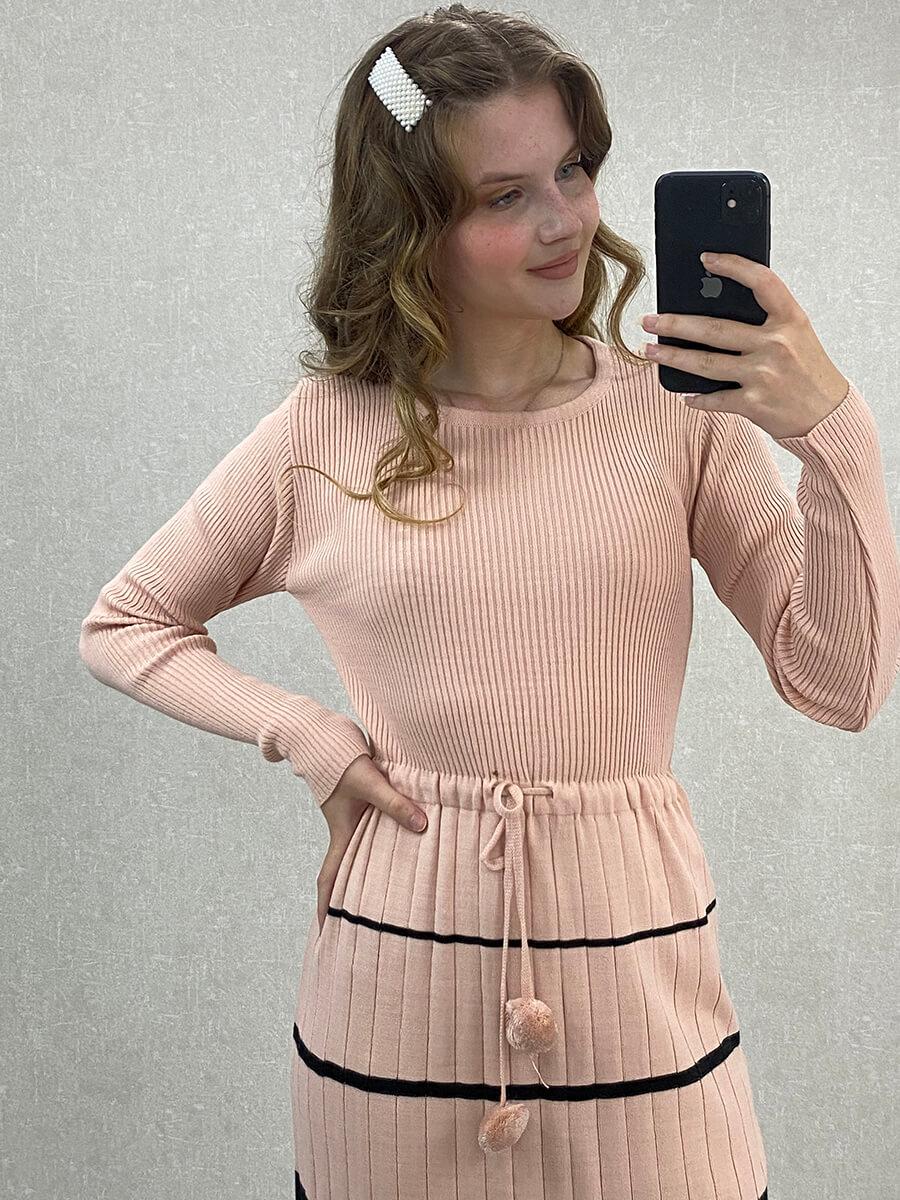 Beli Bağlamalı Çizgili Uzun Pudra Triko Elbise