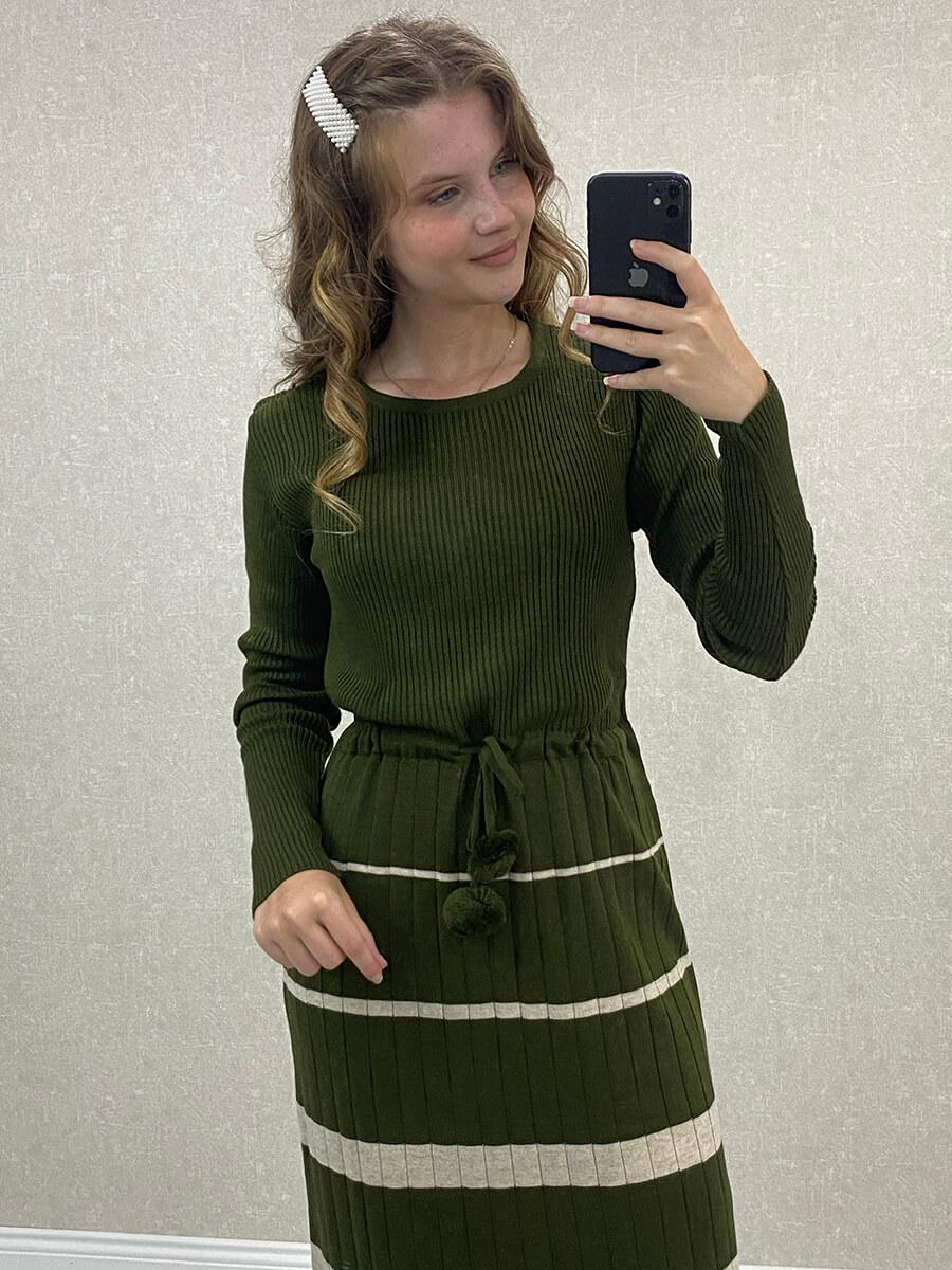 Beli Bağlamalı Çizgili Uzun Yeşil Triko Elbise