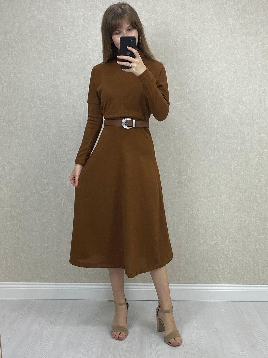 Boğazlı Uzun Kollu Kahverengi Triko Elbise