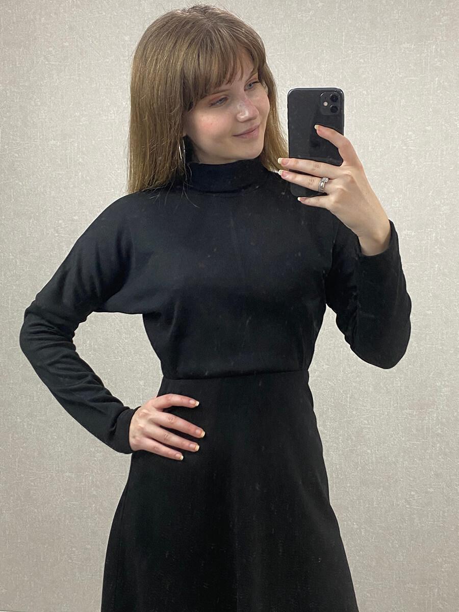 Boğazlı Uzun Kollu Siyah Triko Elbise