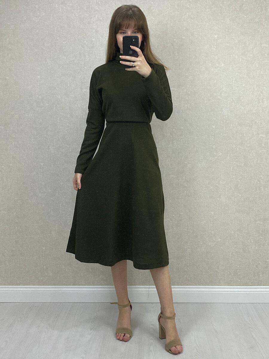 Boğazlı Uzun Kollu Yeşil Triko Elbise