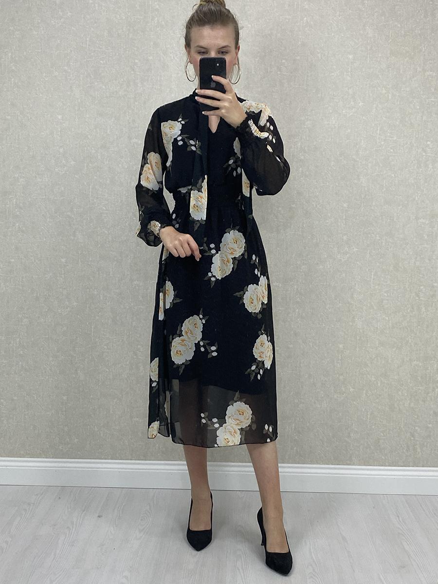 Fularlı Güllü Lastikli Siyah Şifon Midi Elbise