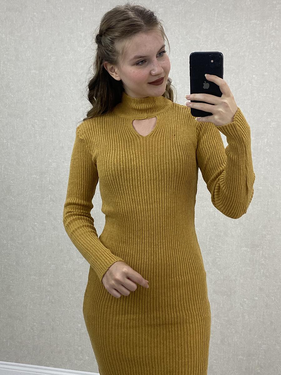Boyun Detaylı Hardal Midi Triko Elbise