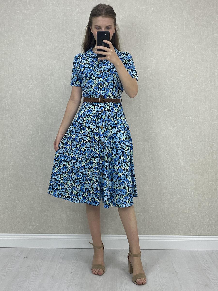 Gömlek Yaka Viskon Mavi Çiçekli Mini Elbise