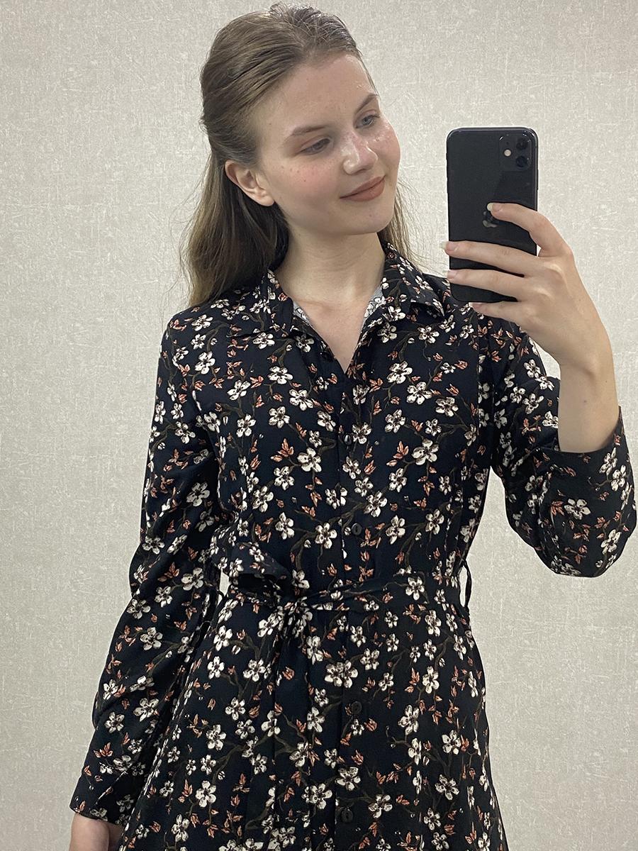 Viskon Çiçekli Siyah Maxi Gömlek Elbise