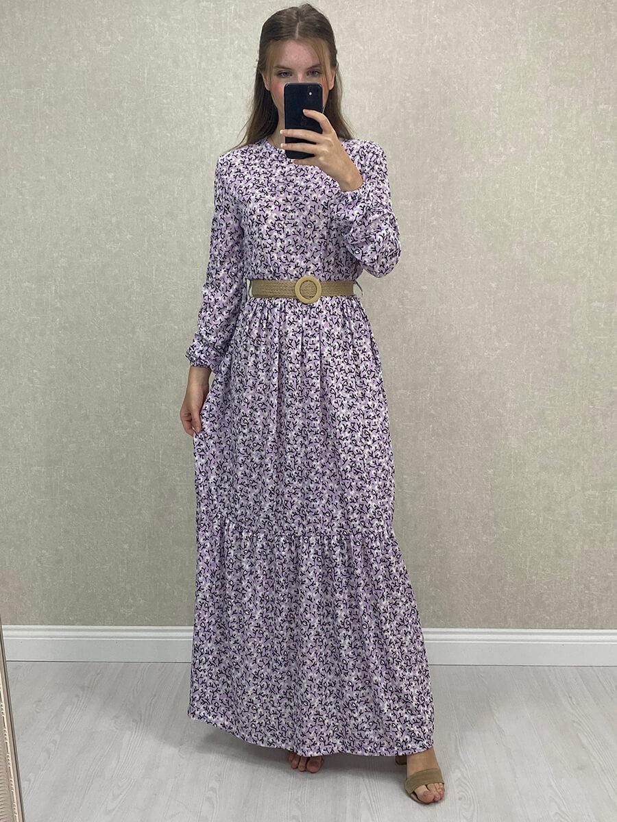 Uzun Kol Çiçekli Kemerli Lila Maxi Elbise
