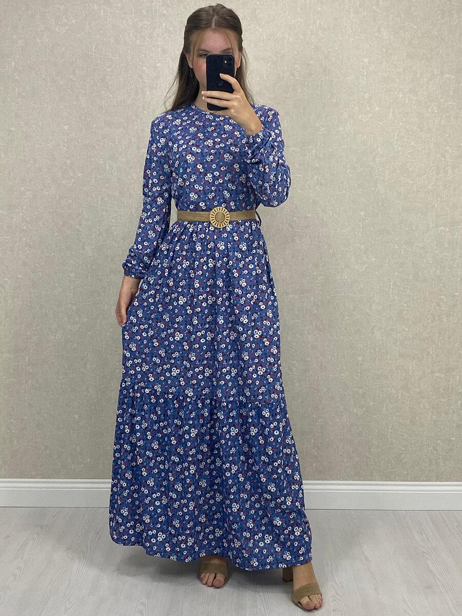 Uzun Kol Kemerli Mavi Maxi Çiçekli Elbise