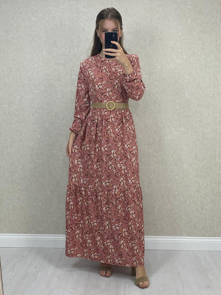 Uzun Kol Çiçekli Kemerli Gül Kurusu Maxi Elbise