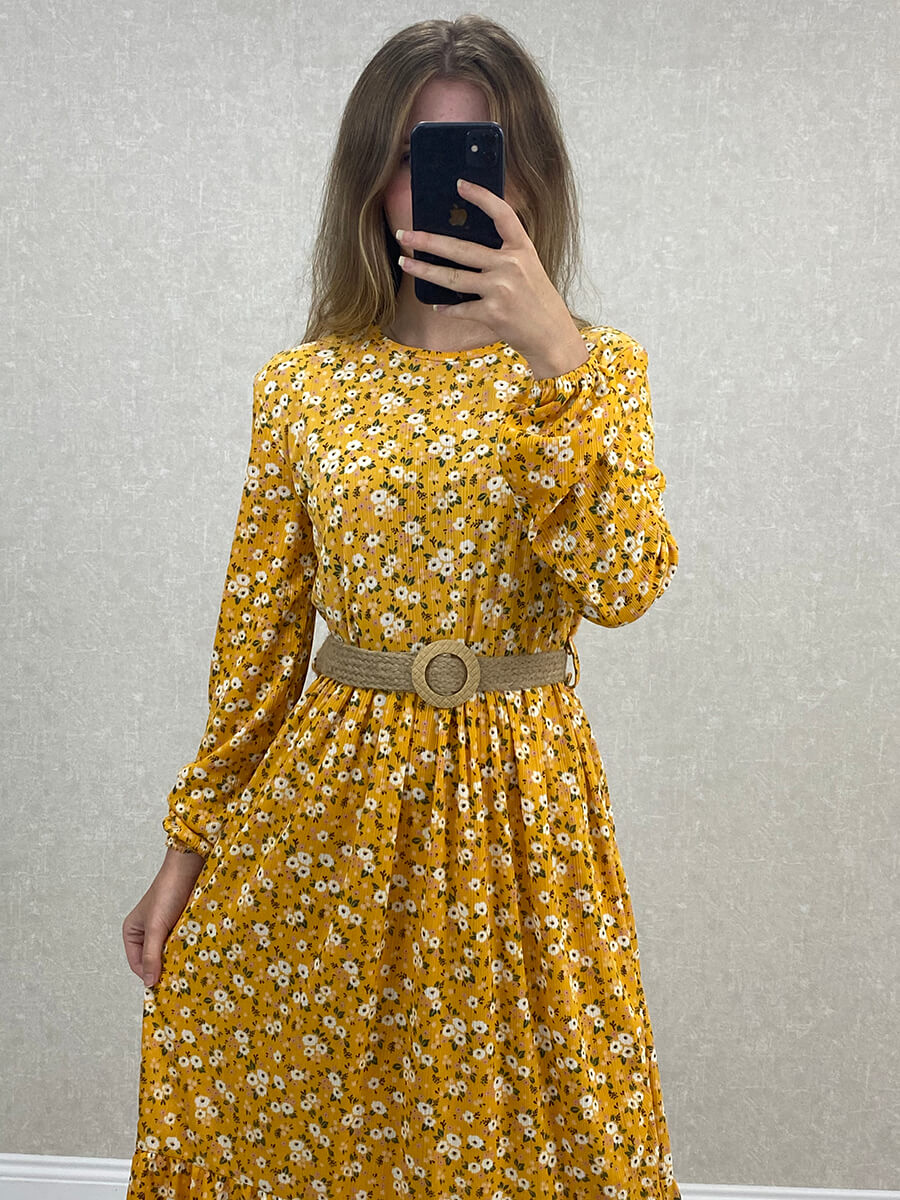 Uzun Kol Çiçekli Kemerli Sarı Maxi Elbise