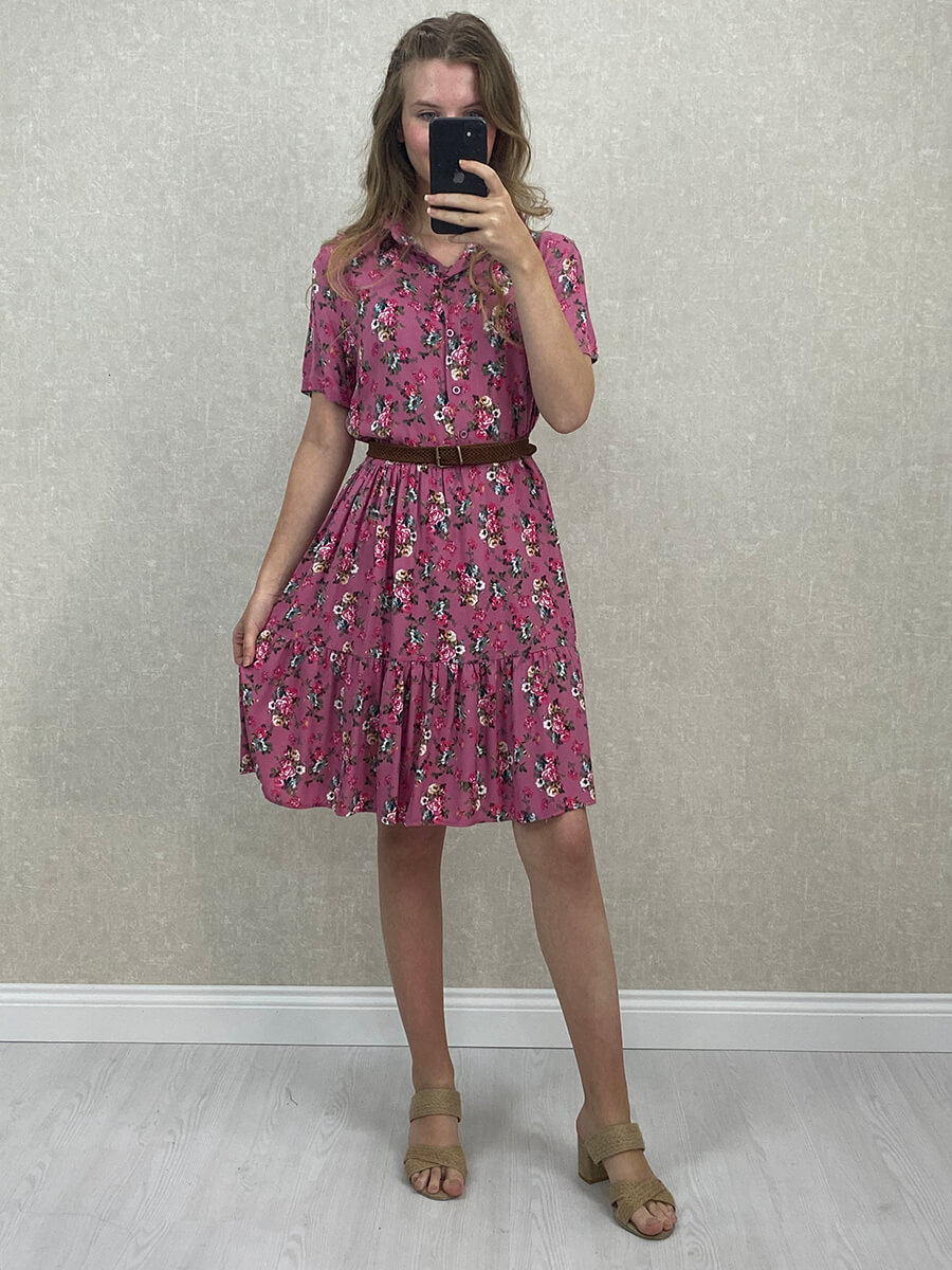 Gömlek Yaka Viskon Pembe Çiçekli Mini Elbise