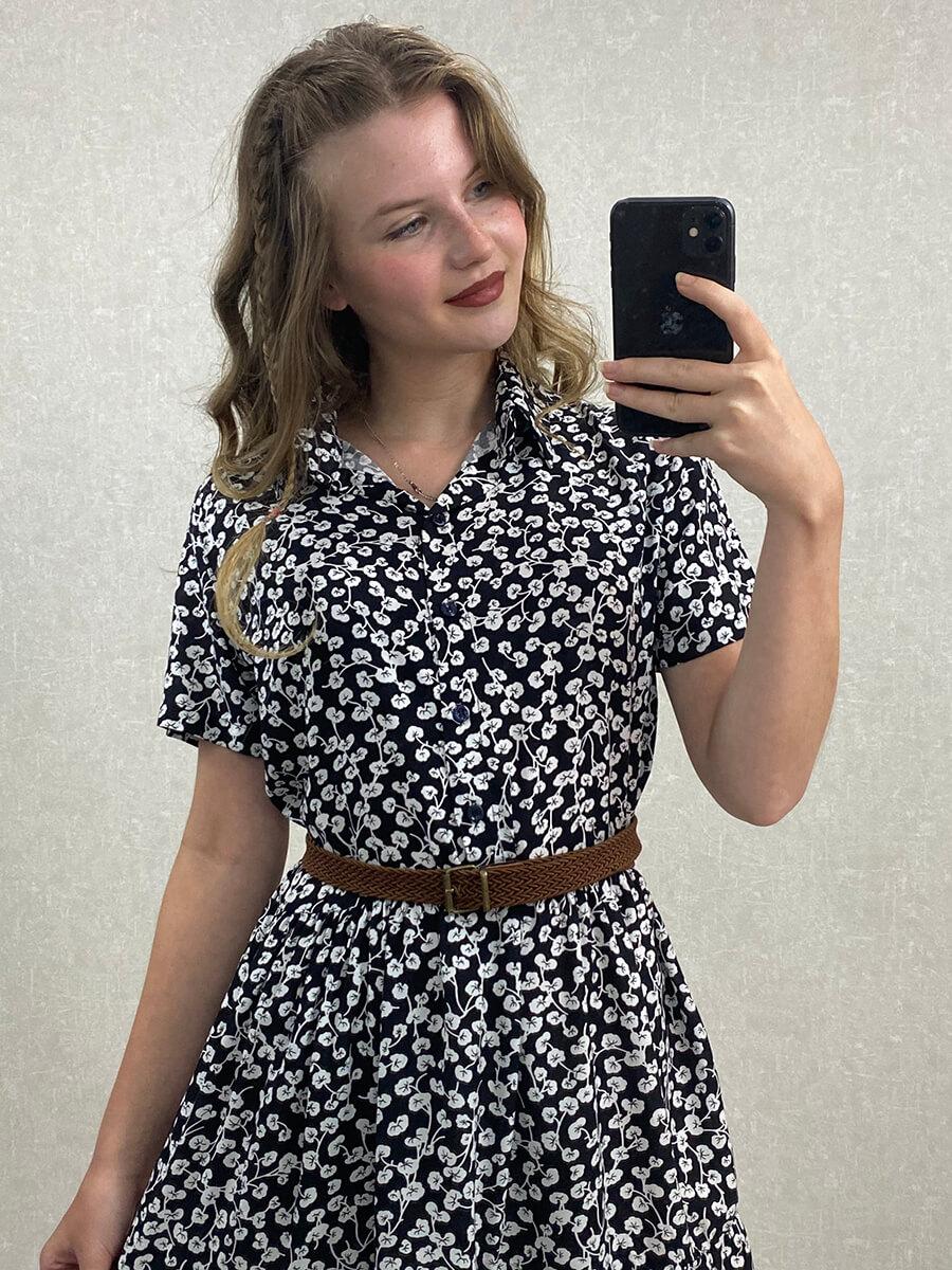 Gömlek Yaka Viskon Siyah Çiçekli Mini Elbise