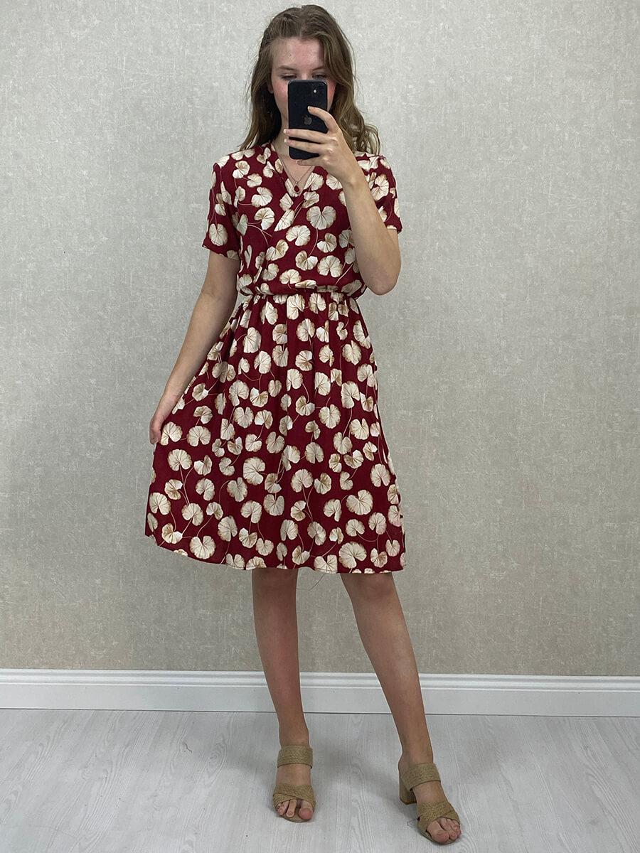 Kruvaze Yaka Yapraklı Viskon Mini Elbise