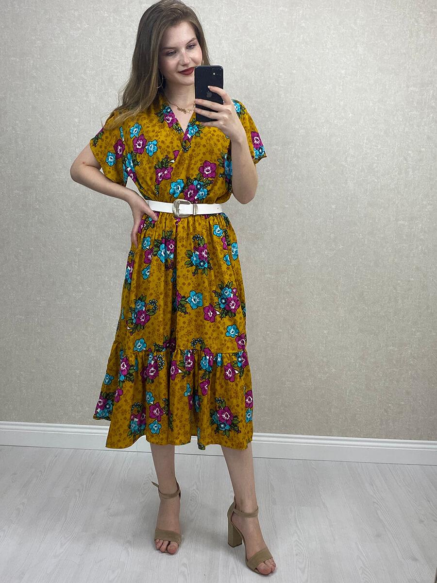 Çiçekli Kruvaze Yaka Viskon Hardal Midi Elbise