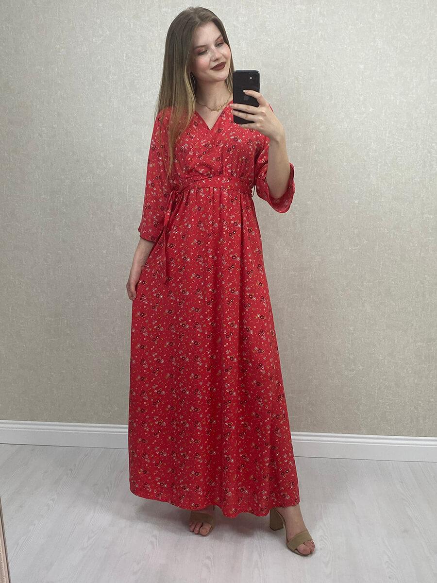 Çiçek Desenli Beli Kuşaklı Kırmızı Midi Elbise