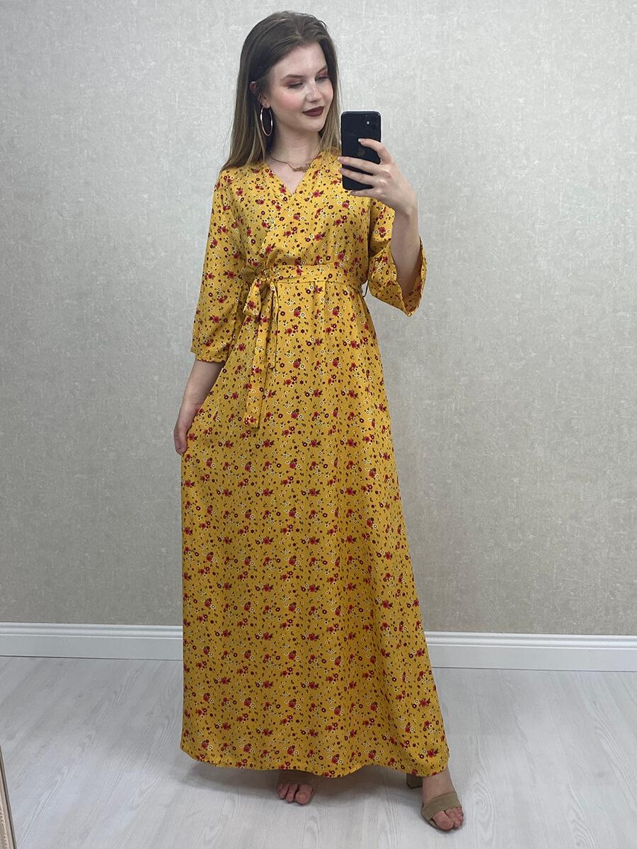 Çiçek Desenli Beli Kuşaklı Sarı Midi Elbise