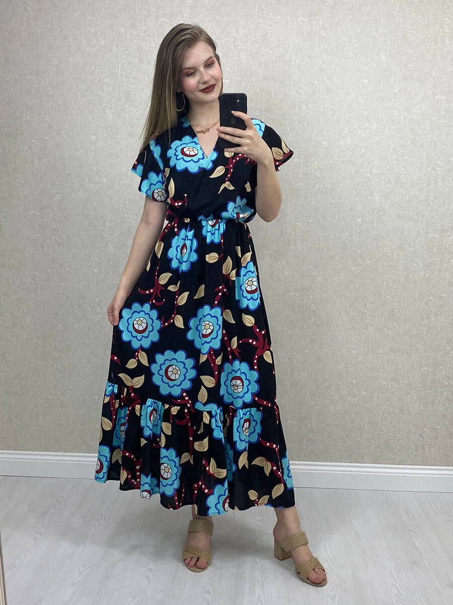 Kruvaze Yaka Mavi Çiçekli Midi Elbise