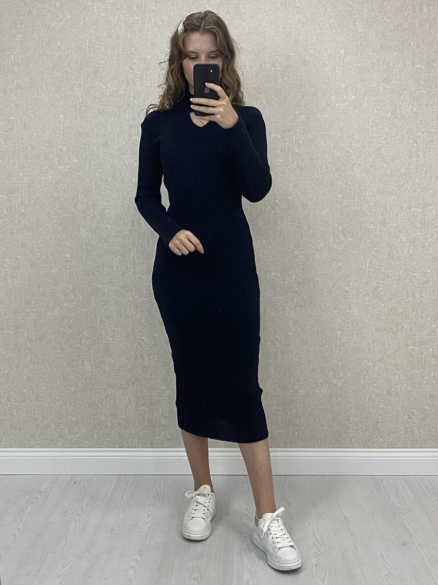 Boyun Detaylı Lacivert Midi Triko Elbise
