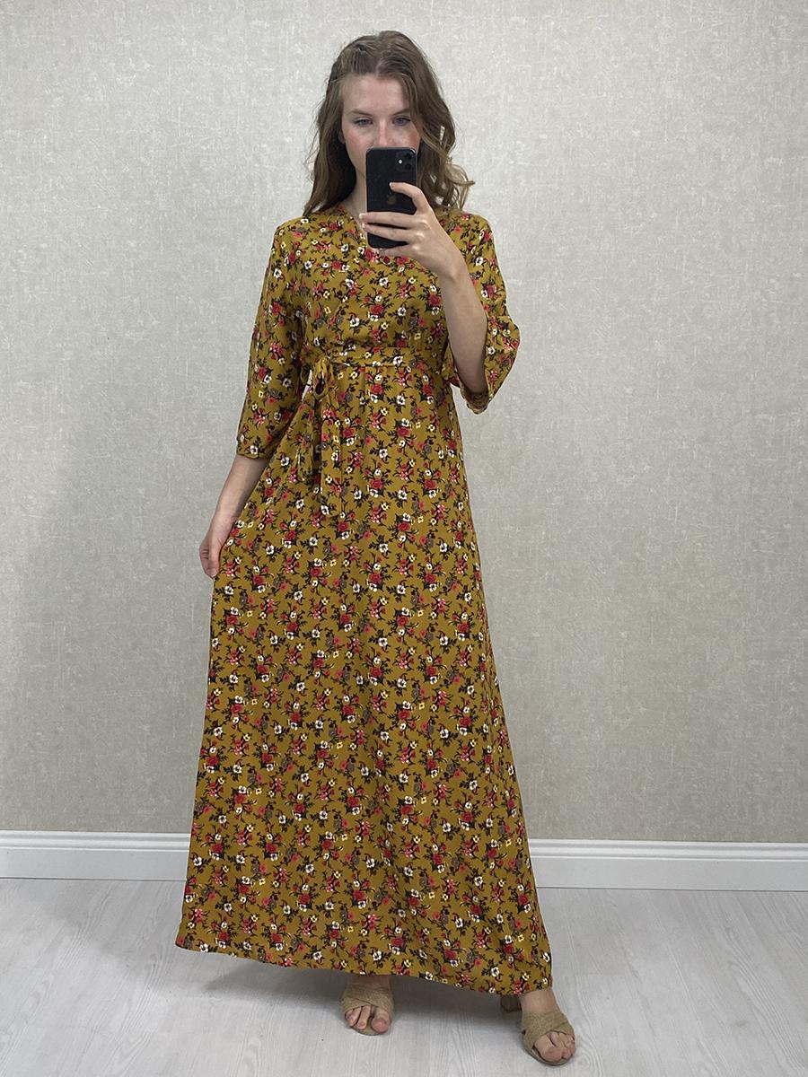 Kuşaklı Küçük Güllü Hardal Uzun Çiçekli Elbise