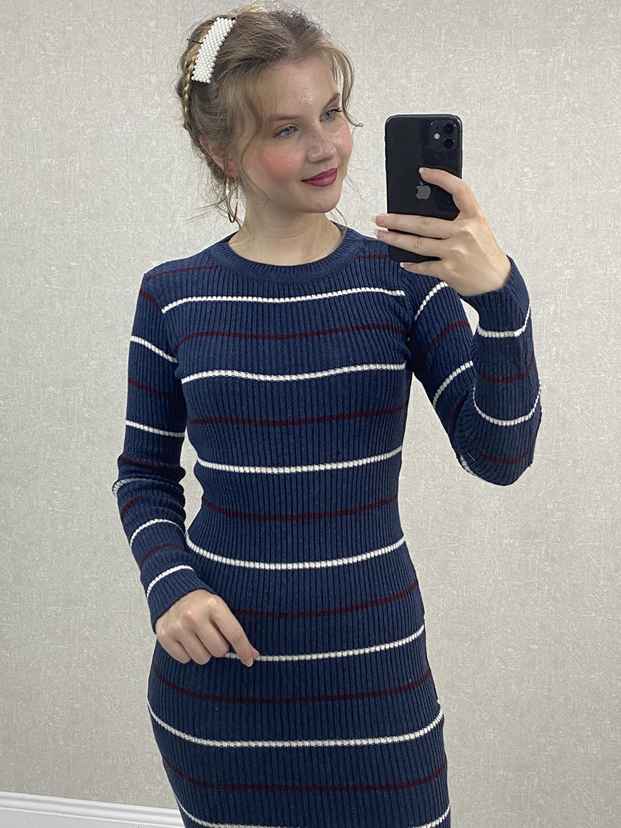 Kırmızı Beyaz İnce Çizgili Mavi Midi Triko Elbise