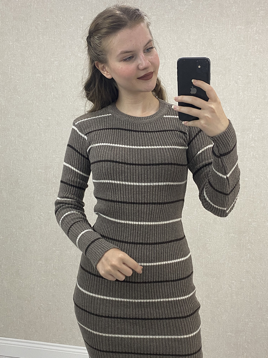 Siyah Beyaz İnce Çizgili Antrasit Midi Triko Elbise