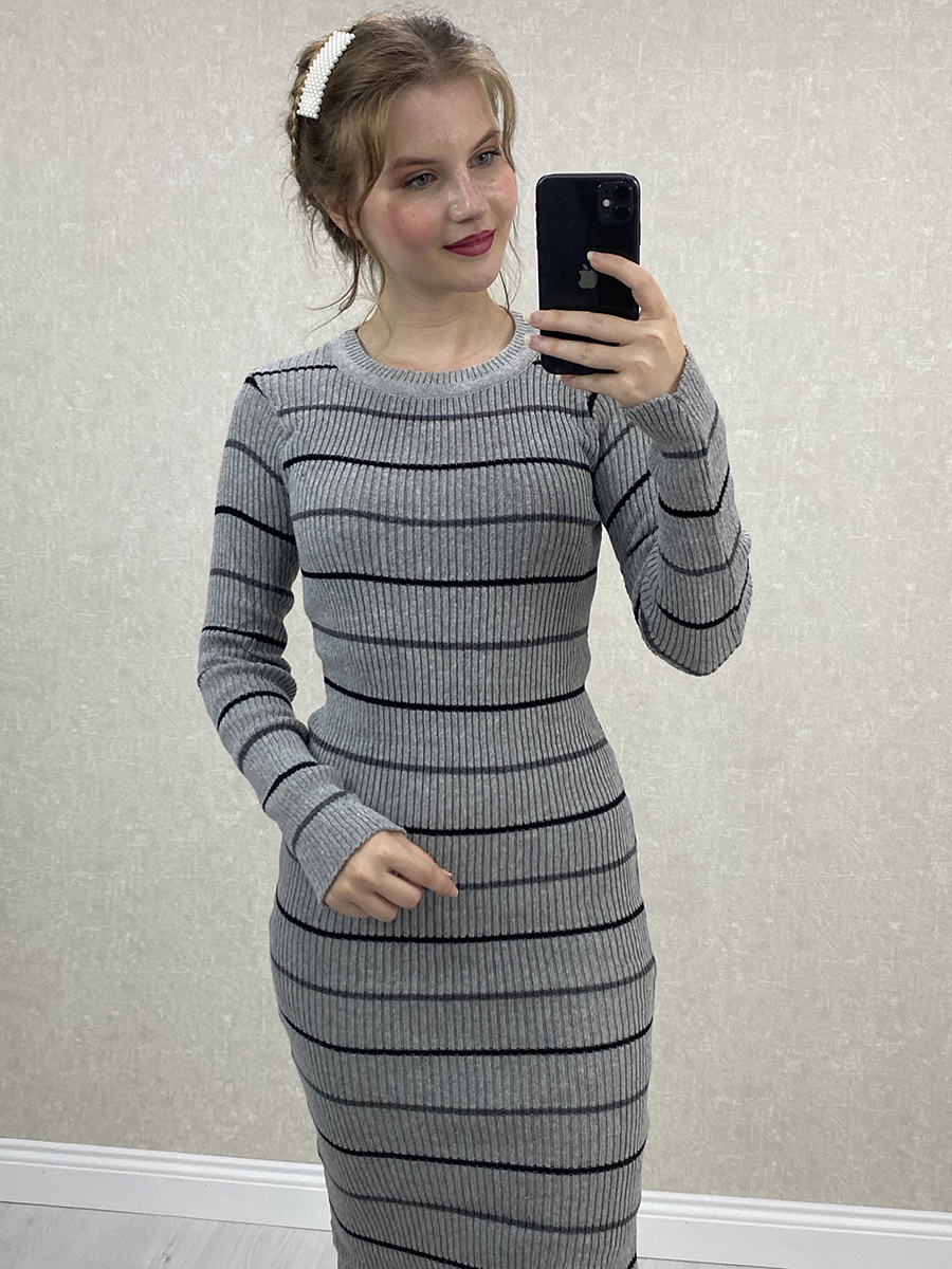 Siyah Beyaz İnce Çizgili Gri Midi Triko Elbise