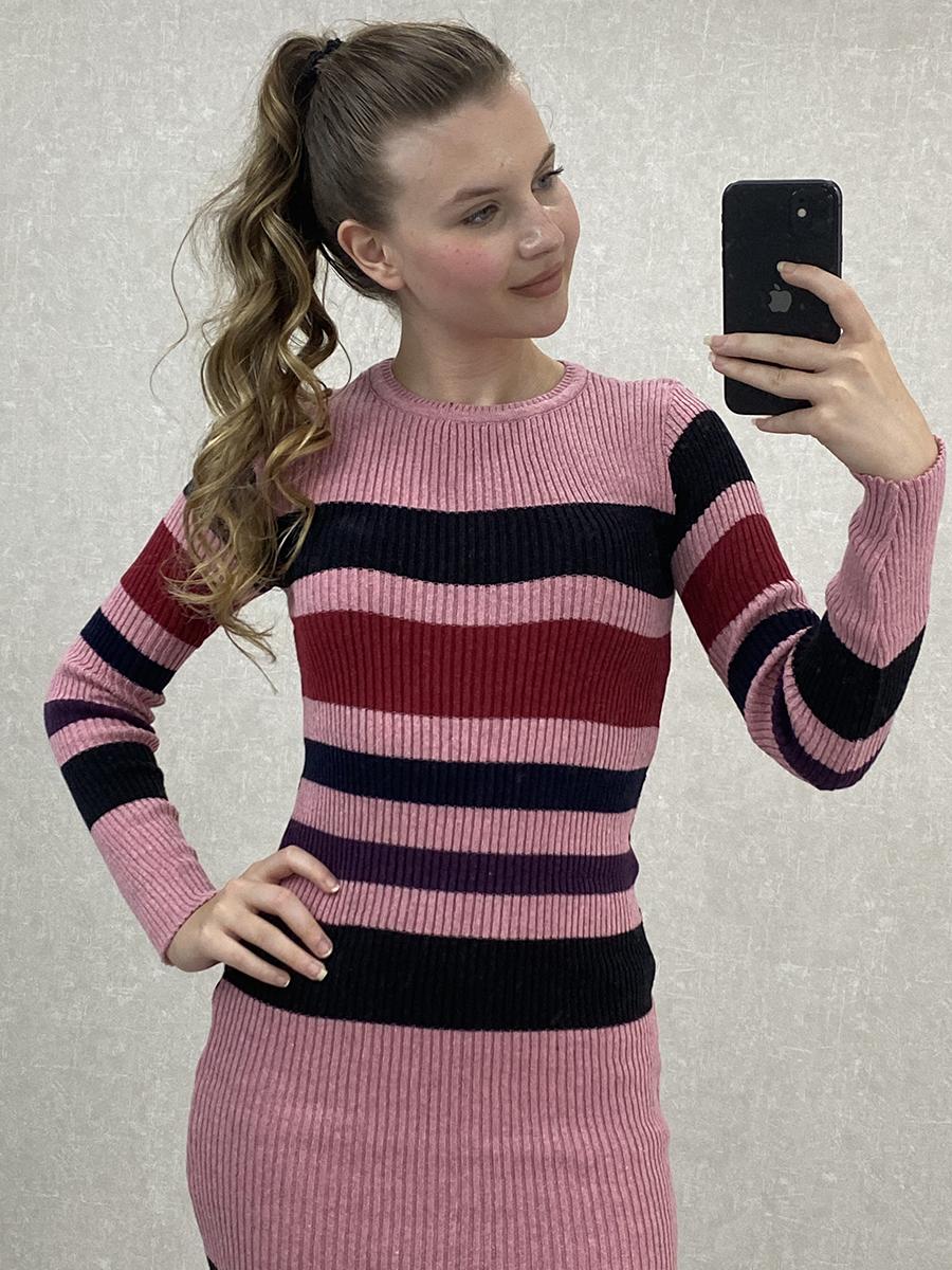 Çok Renkli Çizgili Pembe Midi Triko Elbise