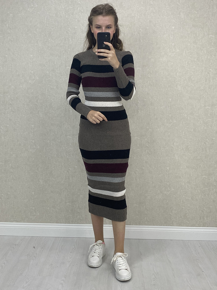 Çok Renkli Çizgili Antrasit Midi Triko Elbise