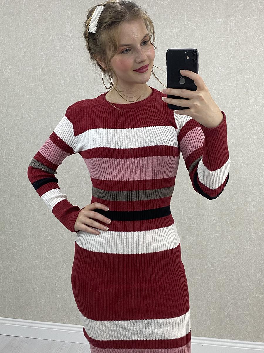 Çok Renkli Çizgili Kırmızı Midi Triko Elbise