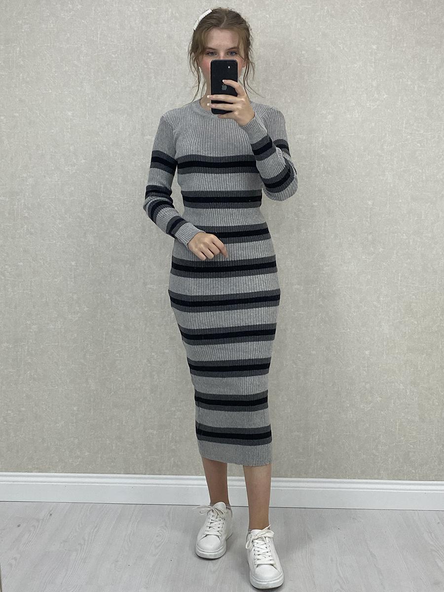Siyah Gri Kalın Çizgili Gri Midi Triko Elbise