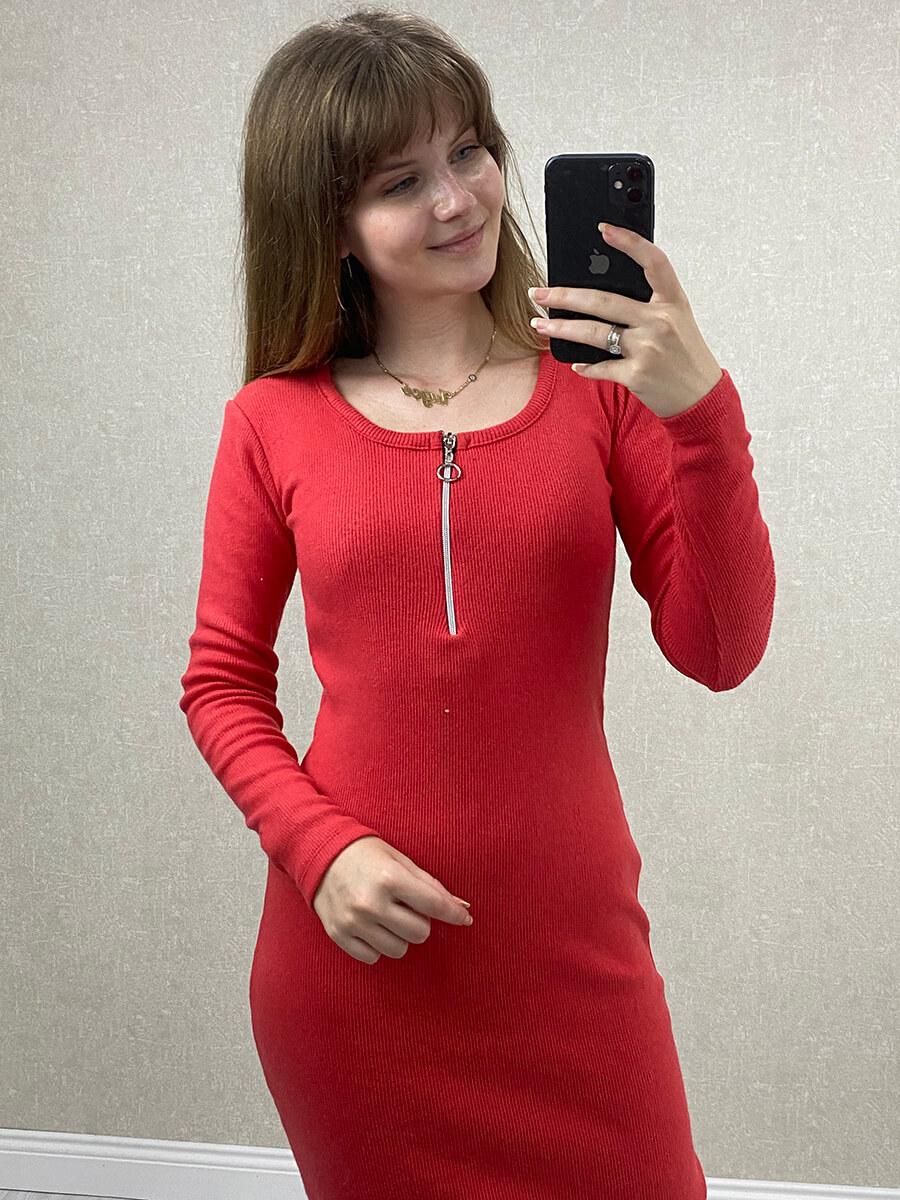 Fermuarlı Kırmızı Midi Boy Triko Elbise