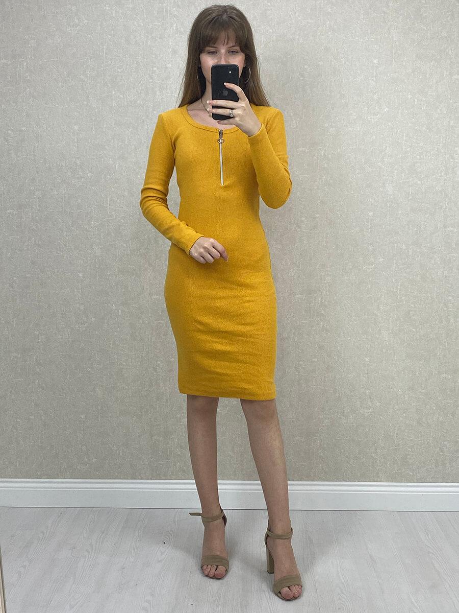 Fermuarlı Sarı Midi Boy Triko Elbise